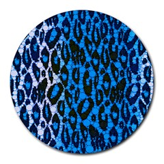 Florescent Blue Cheetah  8  Mouse Pad (round)