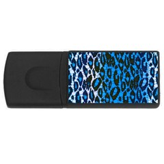 Florescent Blue Cheetah  4gb Usb Flash Drive (rectangle) by OCDesignss