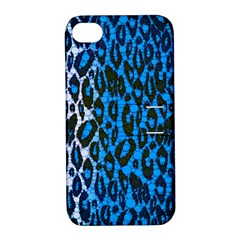 Florescent Blue Cheetah  Apple Iphone 4/4s Hardshell Case With Stand