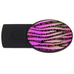 Hot Pink Black Tiger Pattern  4gb Usb Flash Drive (oval) by OCDesignss