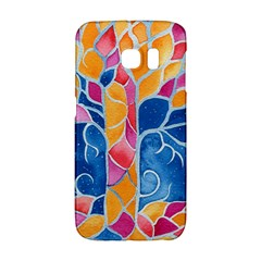 Yellow Blue Pink Abstract  Samsung Galaxy S6 Edge Hardshell Case by OCDesignss