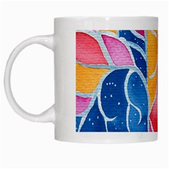 Yellow Blue Pink Abstract  White Coffee Mug