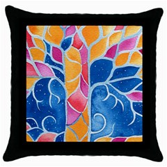 Yellow Blue Pink Abstract  Black Throw Pillow Case