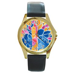 Yellow Blue Pink Abstract  Round Leather Watch (gold Rim)  by OCDesignss
