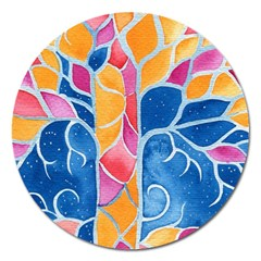 Yellow Blue Pink Abstract  Magnet 5  (round)