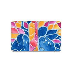 Yellow Blue Pink Abstract  Magnet (name Card)