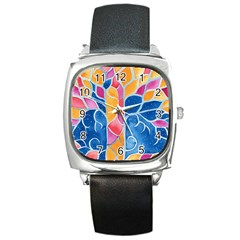 Yellow Blue Pink Abstract  Square Leather Watch