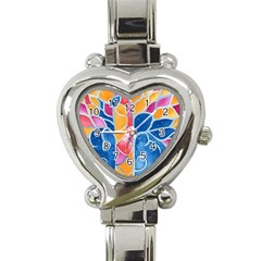 Yellow Blue Pink Abstract  Heart Italian Charm Watch