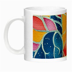Yellow Blue Pink Abstract  Glow In The Dark Mug by OCDesignss
