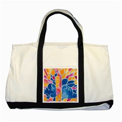 Yellow Blue Pink Abstract  Two Toned Tote Bag