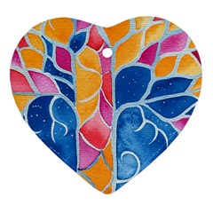 Yellow Blue Pink Abstract  Heart Ornament (two Sides)