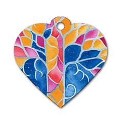 Yellow Blue Pink Abstract  Dog Tag Heart (one Sided)