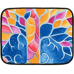 Yellow Blue Pink Abstract  Mini Fleece Blanket (two Sided)