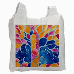 Yellow Blue Pink Abstract  White Reusable Bag (one Side)