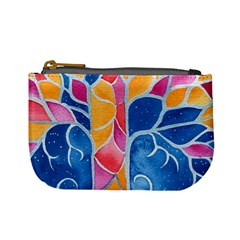 Yellow Blue Pink Abstract  Coin Change Purse