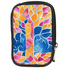 Yellow Blue Pink Abstract  Compact Camera Leather Case