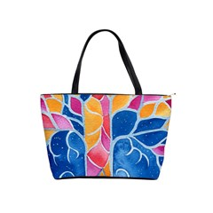 Yellow Blue Pink Abstract  Large Shoulder Bag