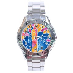 Yellow Blue Pink Abstract  Stainless Steel Watch