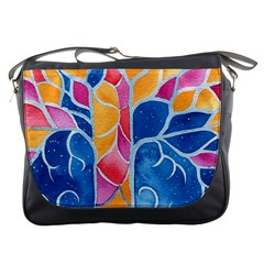 Yellow Blue Pink Abstract  Messenger Bag