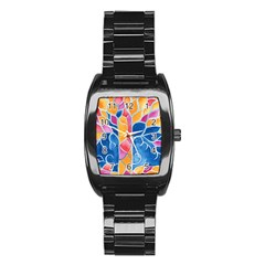 Yellow Blue Pink Abstract  Stainless Steel Barrel Watch