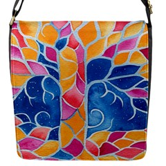 Yellow Blue Pink Abstract  Flap Closure Messenger Bag (small)