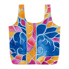 Yellow Blue Pink Abstract  Reusable Bag (l)