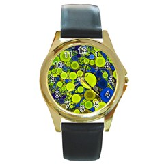 Polka Dot Retro Pattern Round Leather Watch (gold Rim)  by OCDesignss