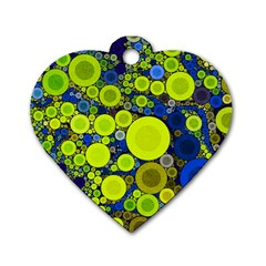 Polka Dot Retro Pattern Dog Tag Heart (one Sided)  by OCDesignss