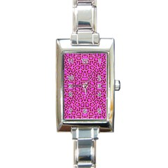Florescent Pink Animal Print  Rectangular Italian Charm Watch