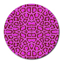 Florescent Pink Animal Print  8  Mouse Pad (round)