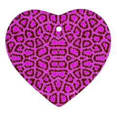 Florescent Pink Animal Print  Heart Ornament
