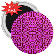 Florescent Pink Animal Print  3  Button Magnet (100 Pack)