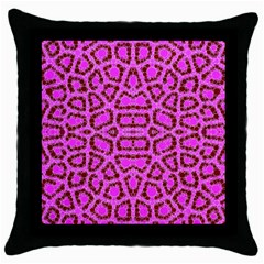 Florescent Pink Animal Print  Black Throw Pillow Case