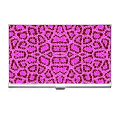 Florescent Pink Animal Print  Business Card Holder