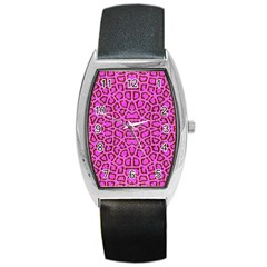 Florescent Pink Animal Print  Tonneau Leather Watch