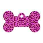 Florescent Pink Animal Print  Dog Tag Bone (One Sided) Front