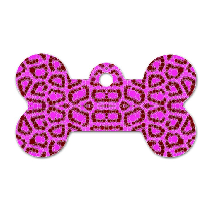 Florescent Pink Animal Print  Dog Tag Bone (One Sided)