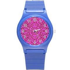 Florescent Pink Animal Print  Plastic Sport Watch (small) by OCDesignss