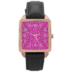 Florescent Pink Animal Print  Rose Gold Leather Watch