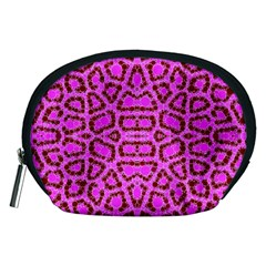 Florescent Pink Animal Print  Accessory Pouch (medium) by OCDesignss