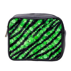 Florescent Green Tiger Bling Pattern  Mini Travel Toiletry Bag (two Sides) by OCDesignss