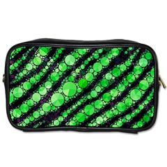 Florescent Green Tiger Bling Pattern  Travel Toiletry Bag (one Side) by OCDesignss