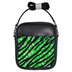 Florescent Green Tiger Bling Pattern  Girl s Sling Bag by OCDesignss