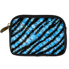 Bright Blue Tiger Bling Pattern  Digital Camera Leather Case by OCDesignss