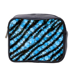 Bright Blue Tiger Bling Pattern  Mini Travel Toiletry Bag (two Sides) by OCDesignss