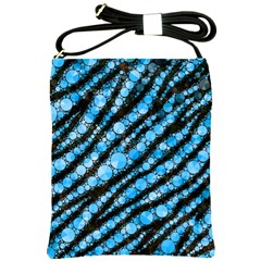 Bright Blue Tiger Bling Pattern  Shoulder Sling Bag by OCDesignss