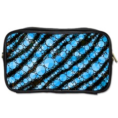 Bright Blue Tiger Bling Pattern  Travel Toiletry Bag (one Side) by OCDesignss