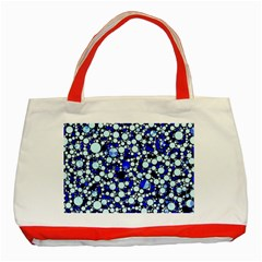 Bright Blue Cheetah Bling Abstract  Classic Tote Bag (red)