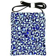 Bright Blue Cheetah Bling Abstract  Shoulder Sling Bag by OCDesignss