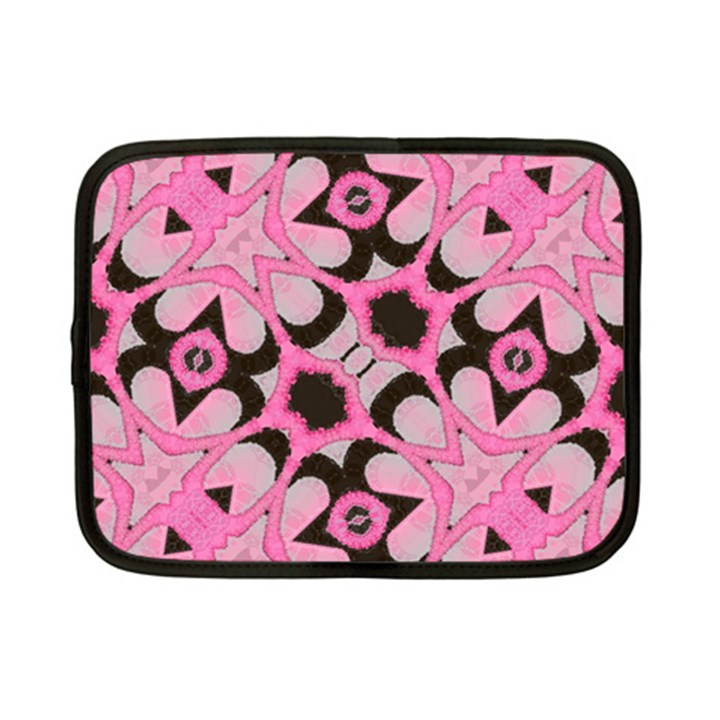 Powder Pink Black Abstract  Netbook Sleeve (Small)